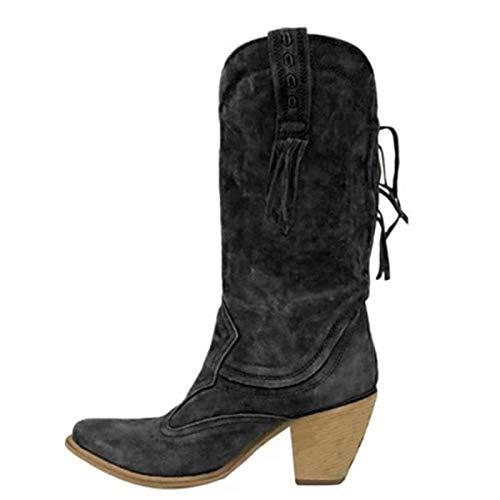LYYJF Las Mujeres De Estilo Étnico Mediados Botas De Tubo De Tacones Altos Caliente Botas De Piel Tacón De Gamuza Largo Flecos Zapatos De Invi, negro, 40 EU