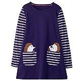 VIKITA Vestito Striscia Cartoon Animale Sciolto Jersey T-Shirt Vestitos Bambina JM7667 5-6 Anni