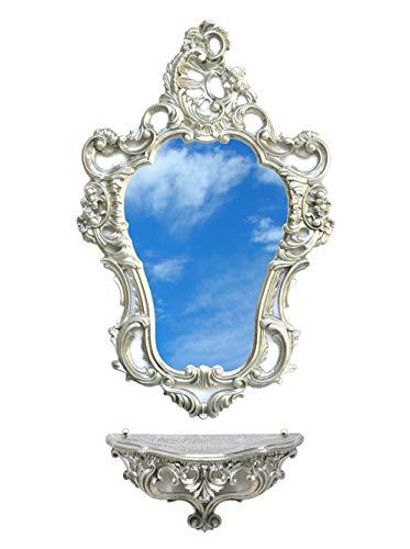 Ideacasa Completo Specchio e Mensola Consolle Argento Stile Barocco Luigi XVI Finto Vintage Argentato