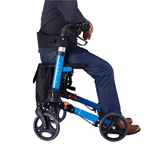 Rollator rollator voor ouderen, met 4-wielige rollator met remmen, mand, ergonomische remmen en gewatteerde rug, parapluhouder en afneembare opbergtas