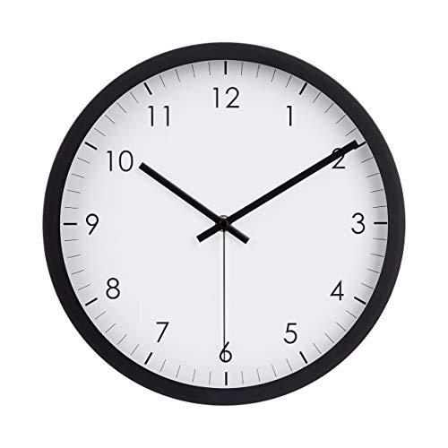 Amazon Basics - Reloj de pared tradicional, 30,5 cm, negro