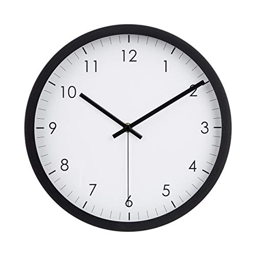 Amazon Basics - Reloj de pared tradicional, 30,5 cm, negro