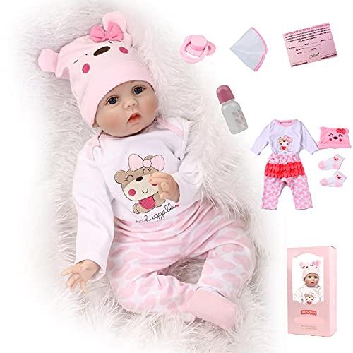 ZIYIUI 22Zoll Reborn Babypuppe Babys Puppe wie Echtes Baby Weiche Silikon Vinyl echt Babypuppen Lebensechte Puppe Neugeborenen Mädchen 55cm