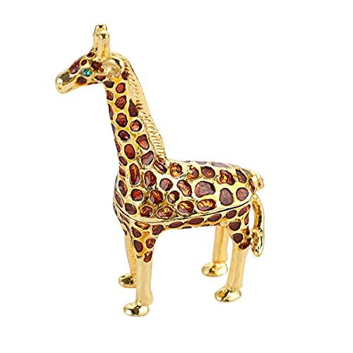 Hand Painted Giraffe Figurine Jewelry Trinket Box Wedding Favor Gift Ring Holder Desk Decor