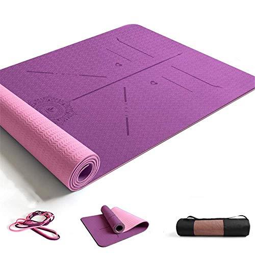 ZBK Esterilla de yoga de 8 mm de grosor, de dos colores de TPE para guía corporal, línea de postura, esterilla de yoga ancha y gruesa,183 x 68 x 0,8 cm- 5 colores