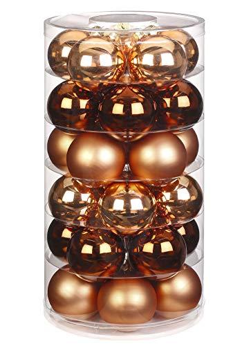Inge Glas Weihnachtskugeln   Schöne Christbaumkugeln aus Glas   30 Kugen in Dose   Christbaumschmuck Weihnachtsbaumschmuck Weihnachtsbaumkugeln (Winter Toffee   Kupfer Glanz/matt)