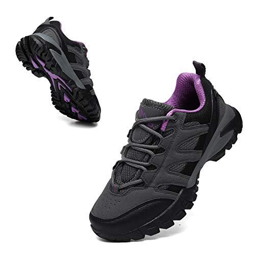 Geweo Trekkingschuhe Damen Halbhoch Wanderschuhe rutschfest Atmungsaktiv Leicht Mesh Erwachsene Outdoor Schuhe Sommer Walkingschuhe Nicht Wasserdicht Dämpfung Unisex Pink 39