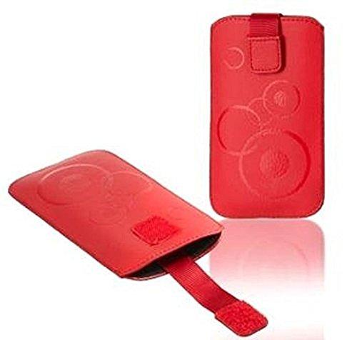 Gütersloher Shopkeeper - Funda protectora para BQ Aquaris U Plus (cierre de velcro y trabilla para cinturón), diseño con círculos, color rojo