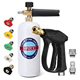 MATCC Foam Cannon Gun Kit Snow Foam Lance Blaster with 3000 PSI Pressure Washer Gun | 5 PCS Pressure Washer Spray Nozzles | M22-14 mm and 3/8' Quick Inlet Connector | 1/4 Quick Outlet Connector