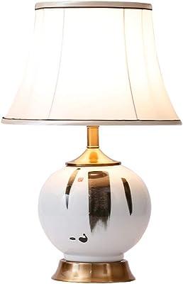 C-J-Xin Retro Lampe de Table, Bureau d'étude décoratif Lampes Céramique Motif d'encre Lampe de Table E27 d'économie d'énergie Protection des Yeux Night Light Luminaires intérieur (Size : 33 * 51cm)