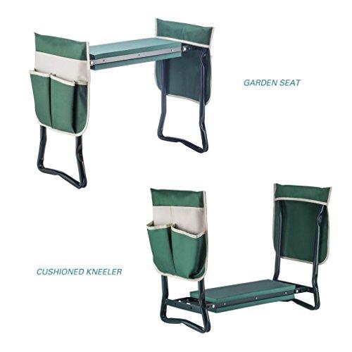 Artist Hand Garden Kneeler Seat Gardening Workseat Garden Stools Foldable Stool w/Two Large Bonus Tool Pouches & Soft EVA Kneeling Pad Foldable Stool