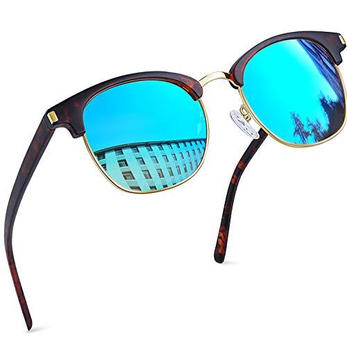 Joopin Gafas de Sol Polarizadas Hombre Media Montura con Protección UV400 Clásicas Retro Gafas para Hombre y Mujer (Azul)
