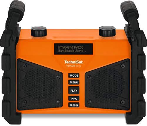 TechniSat DIGITRADIO 230 OD - DAB+ Baustellenradio (DAB+, DAB, UKW, USB, AUX in, Bluetooth, leistungsstarker Akku, Favoritenspeicher, 2 x 6 Watt Stereo-Lautsprecher) orange