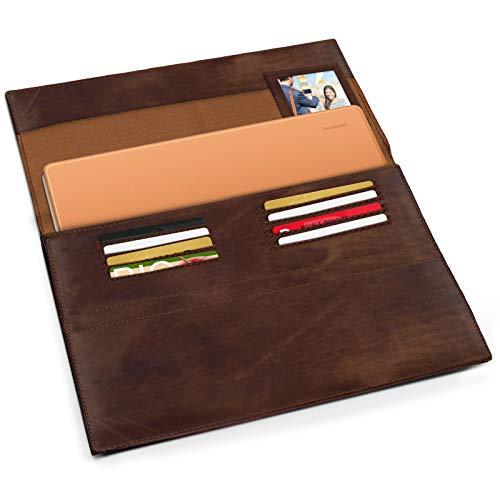 eFabrik Schutzhülle für Huawei MateBook E Ledertasche (passend für MateBook E 12' + Tastatur-Hülle) Schutz Tasche Vintage Hülle Cover Sleeve, Farbe:Cognac Braun - 3