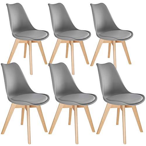 TecTake 800854 Lot de 6 Chaises de Salle à Manger Style Scandinave Mobilier d´Intérieur Pieds Bois Massif Design Moderne – Diverses Couleurs (Gris)