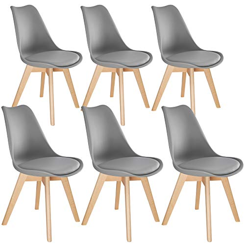 tectake 800854 Conjunto de 6 sillas de Comedor, Juego de sillas ergonómicas para el salón, Asiento Elegante para la Cocina, Set de Muebles para Interior (Gris)
