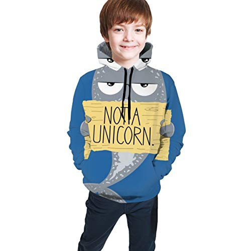 Kids Hooded Sweatshirts 3D Graphic Printed Pullover Hoodies for Boys Girls Colorful Pattern Drawstring Tops Comfort Active Hoodie with Pockets,Not A Unicorn Narwhal,M