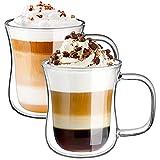Ecooe Vasos de café termo de doble pared, 120 ml-450 ml para café espresso latte capuchino (10, 350 ml-set de 2)