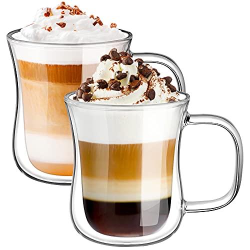 Ecooe 2x240ml Tazas de Café de Cristal,Vasos de Doble Pared con Asa,Tazas de Vidrio Borosilicato paraTé,Café,Leche,Latte,Macchiato