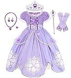 Jurebecia Disfraz Princesa Vestido de Princesa Traje de Sofia Vestidos de Fiesta para niños Outfit Vestido de Cosplay de cumpleaños de Halloween con Accesorios