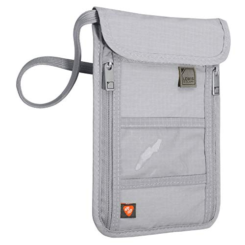 Lewis N. Clark RFID Blocking Stash Neck Wallet, Travel Pouch + Passport Holder for Women & Men, Gray