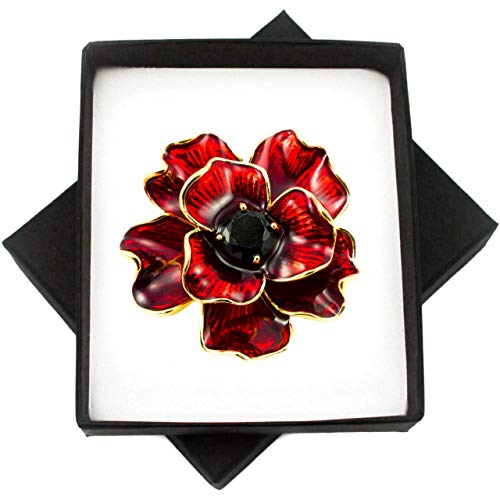 New RED 3D Flower Enamel Gold Brooch PIN for Women in Black Presentation Box from UK Seller