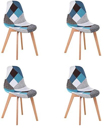 WV LeisureMaster Set di 4 Sedie da Pranzo Patchwork Sedie da Salotto Stile Scandinavo Sedie Laterali Ideali per Soggiorno, Sala da Pranzo, Camera da Letto, Ufficio, Bar, ECC, Blu