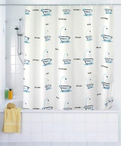 WENKO Duschvorhang Bathtub - PEVA - 180 x 200 cm (BxH) - inkl. Duschvorhangringe - Vorhang f. Wanne oder Dusche