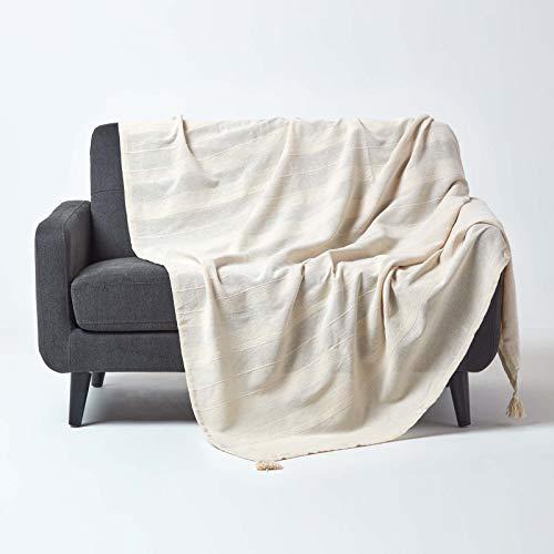 Homescapes große Tagesdecke Rajput, Creme, Wohndecke aus 100% Baumwolle, 225 x 255 cm, Sofaüberwurf/Couchüberwurf in RIPP-Optik