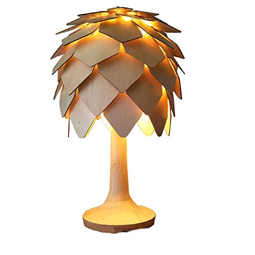 XZhstes Lámpara De Mesa De Noche LED Decoración De Dormitorio Lámpara De Mesa De Cono De Pino Estilo De Registro Lámpara De Mesa De Ambiente De Madera De Fruta De Pino