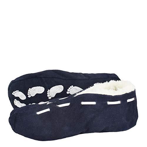 Sonia Originelli Kinder Wildlederhausschuh ABS Stopper Leder Kuschelfell Farbe Marineblau, Größe 22