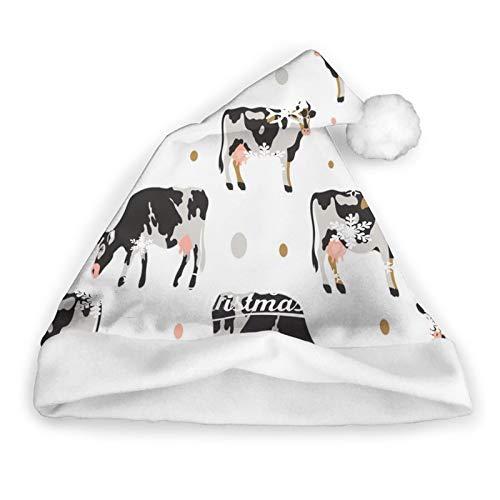 ZVEZVI Milch beschmutzte Kuh Schwarze Kuh Weihnachtsmütze Weihnachten...