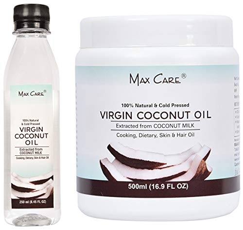 Maxcare Virgin Coconut Oil (Cold Pressed) 250ML + Maxcare Virgin Coconut Oil (Cold Pressed) 500ML Wide Mouth