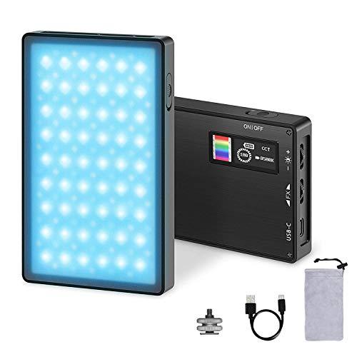 LED Videoleuchte RGB, Mini Video licht Dimmbare Videolicht 2500K-8500K, USB Wiederaufladbarem Kamera Licht Dauerlicht CRI95+ für Sony/Canon/Nikon DSLR Camcorder, Smartphones