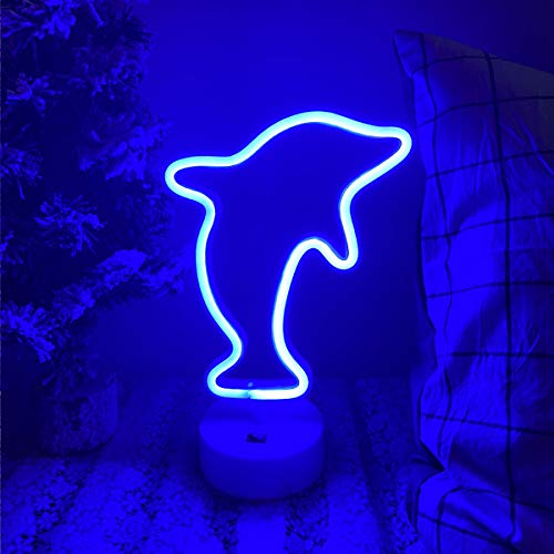 DANIDEER Led Neon Sign Art Decorative Lights Table Decoration Neon Lamp with Base for Kids boy and Girl Bedroom Unique Gift for Any Occasion (Dolphin with Base)
