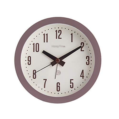 Analog Alarm Clock Indoor Decoration Loud Alarm Clock Simply Design Silent Non Ticking for Kids Students (Color : Brown, Size : Large)