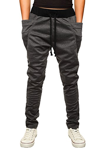 HEMOON Men's Jogging Pants Tracksuit Training Running Trousers Dark Grey M