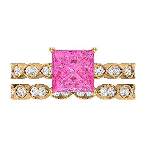 Rosec Jewels 18 quilates oro amarillo talla princesa Round Brilliant Pink Moissanite zafiro sintético rosa