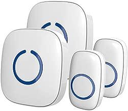 Wireless Doorbell by SadoTech - Waterproof Door Bells & Chimes Wireless Kit,1000-ft Range,52 Door Chimes, 4 Volume Levels with LED,Wireless Doorbells w/ 2 Receivers & 2 Buttons, Starpoint, White