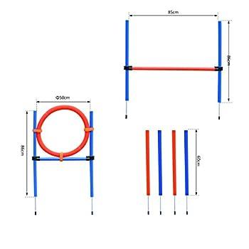Pawhut Agility Sport pour Chiens équipement Complet Obstacles et Entrainement 11 pièces avec Sac de Transport Acier Rouge et Bleu