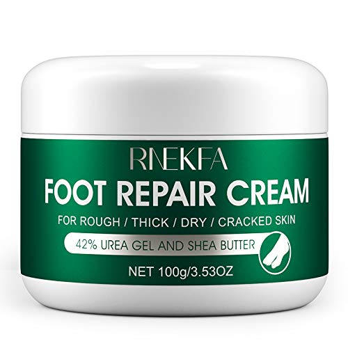 RNEKFA Urea 42% Percent Foot Care Lotion for Cracked Heels , Ultra,Rough, Dry, Calloused Feet,Softening Rough skin on feet,Avocado Cream with Glycerin and Jojoba for Men and Women 3.53 fl.oz