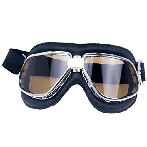 WggWy Gafas de Motocicleta, Resistente al Polvo y Gafas de Aviador Retro cómodas adecuadas para Hombres y Mujeres con Adultos a Caballo día y Noche,Amarillo