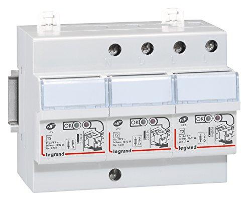 Legrand 003953 Parafoudre pour Protection Ttableau D'abonné avec Protection Intégrée Type 2 Imax 12kA/Pôle, 3P+N, 6 Modules, Blanc