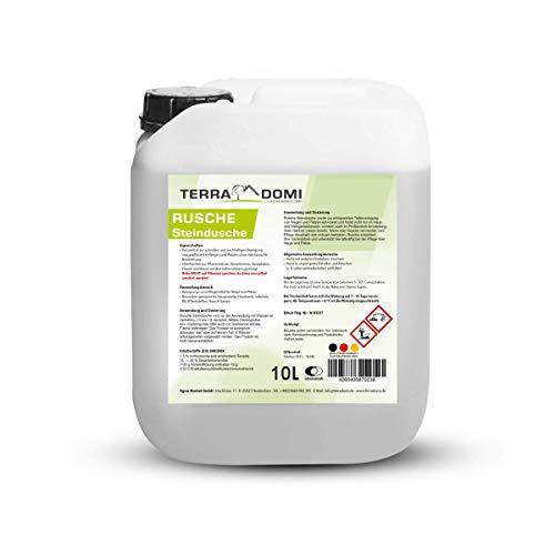 TerraDomi Rusche Steindusche, 10 L, Steinreiniger für bis zu 4000 m², Reinigungsmittel für saubere Wege & Plätze, Wegerein, biologisch abbaubar