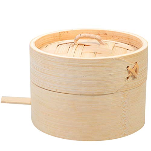 Hemoton Vaporera de Bambú, Vaporera de Bambú para Cocinar al Vapor, Canasta de Vapor de Madera Natural Vaporera de Bambú con Tapa Ideal para Albóndigas Verduras Pollo Pescado Arroz Al Vapor, 9 CM