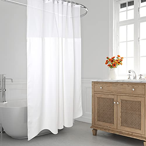 Fabric Shower Curtain, Hotel Style Bathroom White Shower Curtain with See Through Top Window and Snap-in Liner, 71x74 (White)