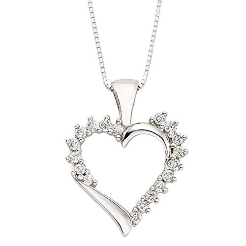 Ani's Colgante de corazón de 1/4 quilates con circonita cúbica transparente chapado en oro blanco de 14 quilates con collar de cadena de 45,7 cm