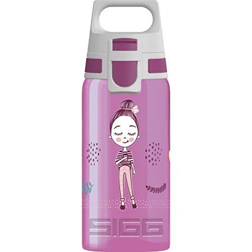 SIGG VIVA ONE Girls Way Cantimplora infantil (0.5 L), botella transparente sin sustancias nocivas y con tapa hermética, cantimplora para niños para usar con una mano