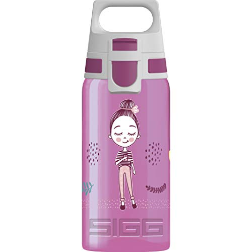 SIGG VIVA ONE Girls Way Kinder Trinkflasche (0.5 L), schadstofffreie Kinderflasche mit auslaufsicherem Deckel, einhändig bedienbare Wasserflasche