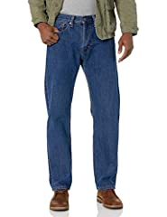 Mid Rise Men's Blue Jeans: Sits at Waist These Men's Jeans Have Extra Room Through Seat and Thigh Men's Straight Leg Jeans With Zipper Closure Wash and Dry Inside Out With Like Colors; Liquid Detergent Is Recommended